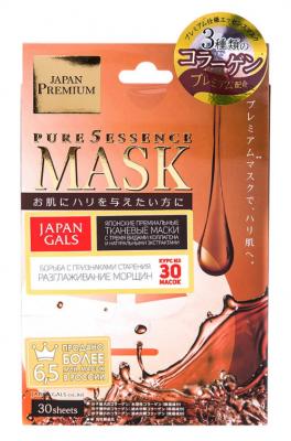 Маска для лица c тремя видами коллагена Japan Gals Pure5 Essence Premium 30 шт: фото